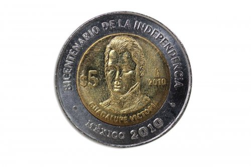 Mexico 5 Pesos,2010,KM#929,Mint,Bicentenary Independence Coin-Guadalupe Victoria
