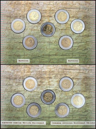 Mexico $5 Pesos 7 Pieces (PCS) Coin Set, 2009, Mint, Revolution w/ Folder