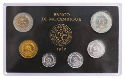 Mozambique 50 Centavos -  25 Meticais 6 Pieces (PCS) Aluminum Full Coin Set,1980