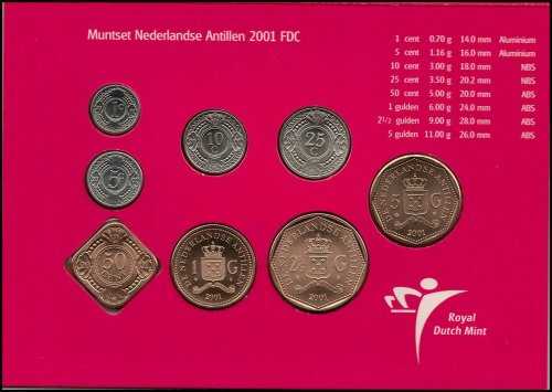 Netherlands Antilles 1 Cent - 5 Gulden 8 Piece Full Coin Set, 2001,Mint,Griffith