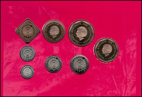 Netherlands Antilles 1 Cent - 5 Gulden 8 Piece Full Coin Set, 2004,Mint,Monument