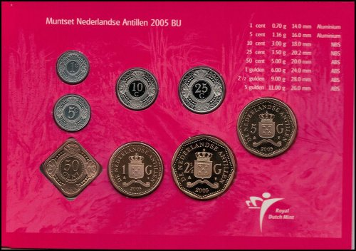 Netherlands Antilles 1 Cent - 5 Gulden 8 Piece Full Coin Set, 2005, Mint,Painter