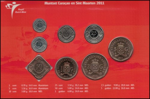 Netherlands Antilles 1 Cent - 5 Gulden 8 Piece Full Coin Set, 2011, Mint, CITRO