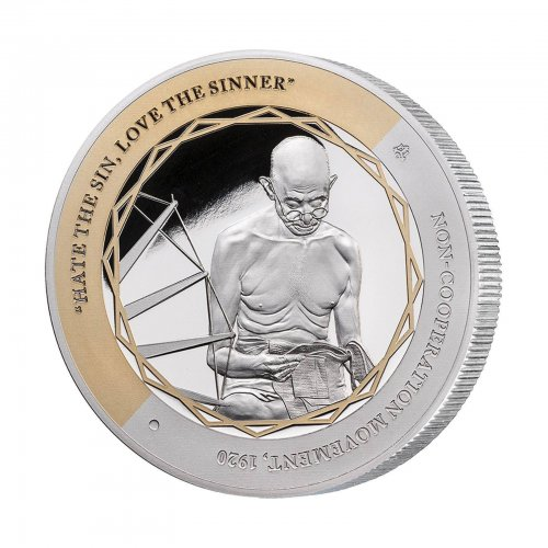 Niue $1, 1 oz. Silver X 5 Coin Set, Gandhi 100 Years Return to India