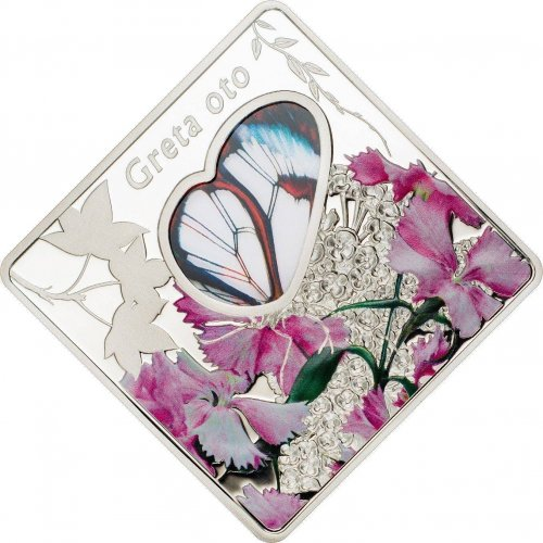 Palau $10 Dollars, 50 g Silver Proof Coin,2014,Greta Oto Butterfly Colored Glass