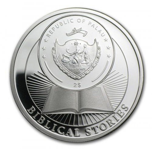 Palau $2 Dollars, 1/2 oz. Silver Proof Coin, 35 mm, 2014, 3rd Ten Commandments