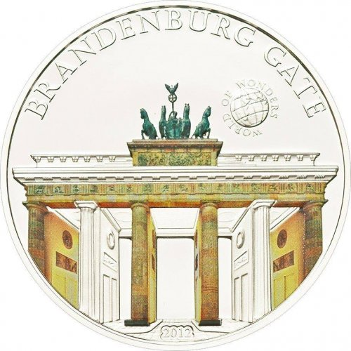 Palau $5, 20g Silver Coin, 2012, Mint, World Of Wonders, Brandenburg Gate
