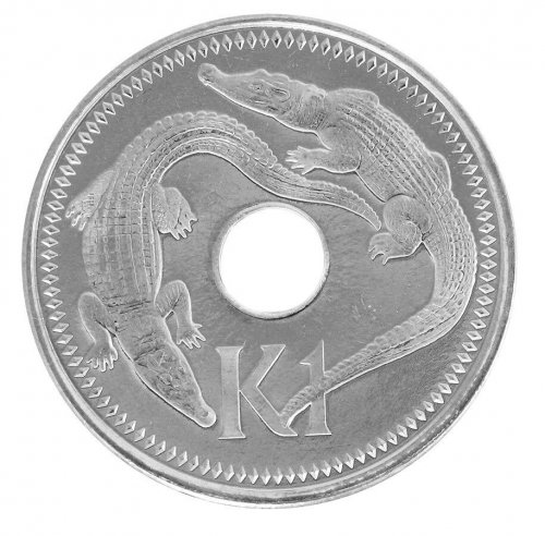 Papua New Guinea 1 Kina 14g Nickel Plated Steel Coin,2004,KM # 6a,Crocodile,Mint