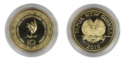 Papua New Guinea 2 Kina, 2015, Mint, Commemorative Port Moresby XV Pacific Games