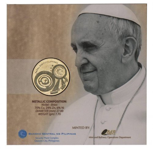 Philippines 50 Piso, 7 g Nickel Brass Coin, 2015, Mint, Pope Francis Visit