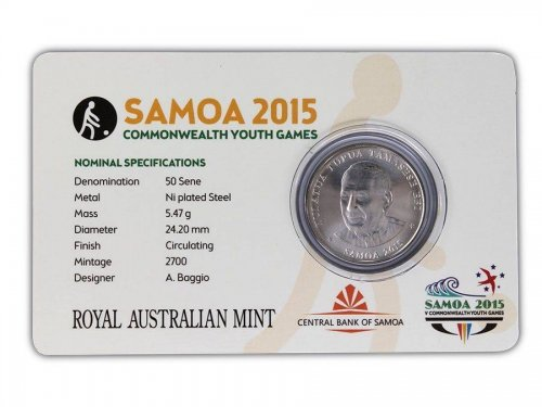 Samoa 50 Sene, 5 g Ni Plated Coin, 2015, Commonwealth Youth Games - Lawn Bowling
