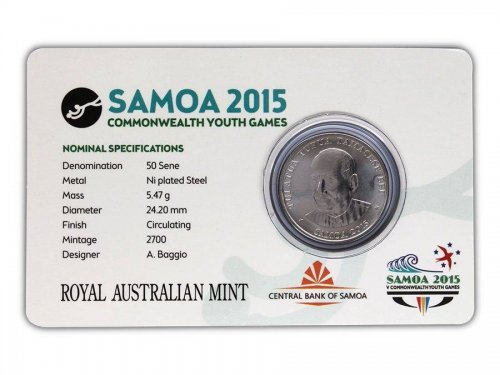 Samoa 50 Sene, 5 g Ni Plated Coin, 2015, Commonwealth Youth Games - Rugby Seven