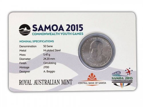 Samoa 50 Sene, 5 g Ni Plated Coin, 2015, Mint,Commonwealth Youth Games - Aquatic
