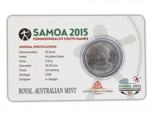 Samoa 50 Sene, 5 g Ni Plated Coin, 2015, Mint,Commonwealth Youth Games - Archery