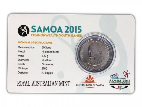 Samoa 50 Sene, 5 g Ni Plated Coin, 2015, Mint, Commonwealth Youth Games - Squash