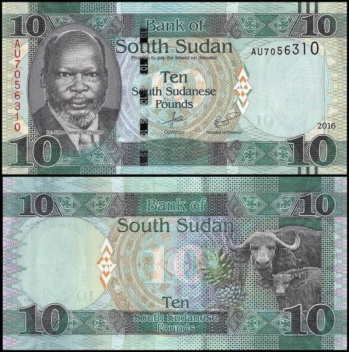 South Sudan 5 - 100 Pounds 5 Pieces (PCS) Full Set, 2011-2017, P-11-14, UNC