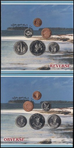 Tonga 1 to 50 Seniti 6 Pieces (PCS) Coin Set, Copper-Nickel Plated, 2002, Mint
