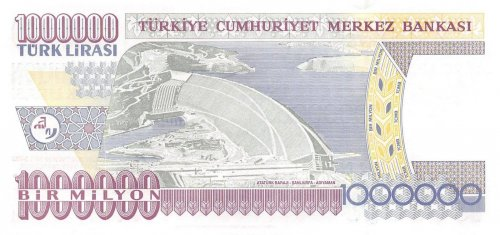 Turkey 1,000,000 (1000000) Million Lira, 2002, P-213, UNC, Prefix-P