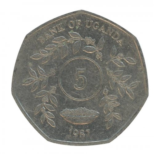 Uganda 5 Shillings 3 g Nickel Plated Coin, 1987, KM # 29, Mint, Animals, Plants