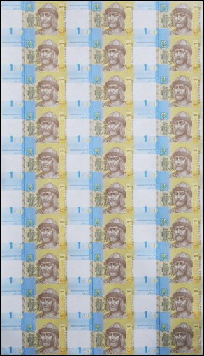 Ukraine 1 Hryvnia, 2014, P-116Ac, UNC, 30 Pieces (PCS), Uncut Sheet