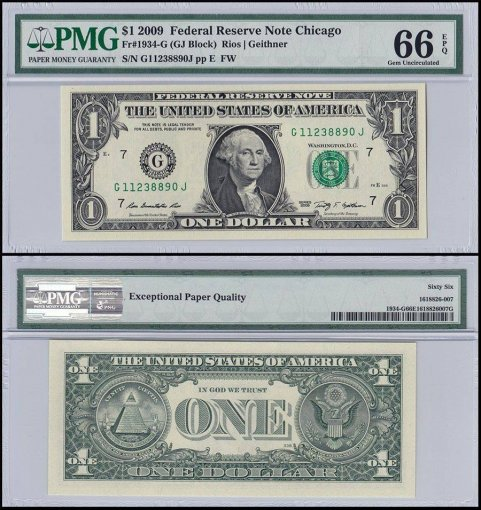 United States of America - USA 1 Dollar, 2009, P-UNL, PMG 66