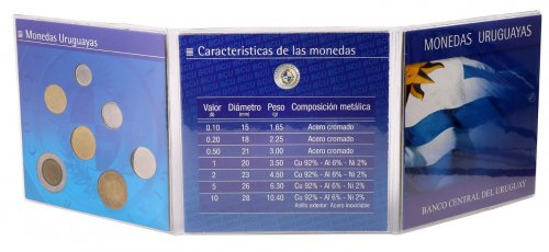 Uruguay 10 Centesimos - 10 Pesos 7 Pieces - PCS Coin Set, 1994-2000, Mint,Folder