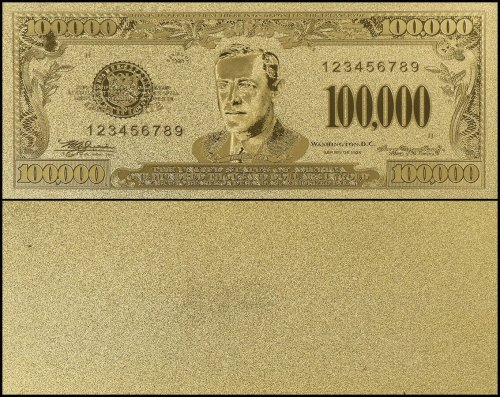 USA 100,000 - 100000 Dollars, 1928, Novelty Gold Banknote, Wilson, Acrylic Block