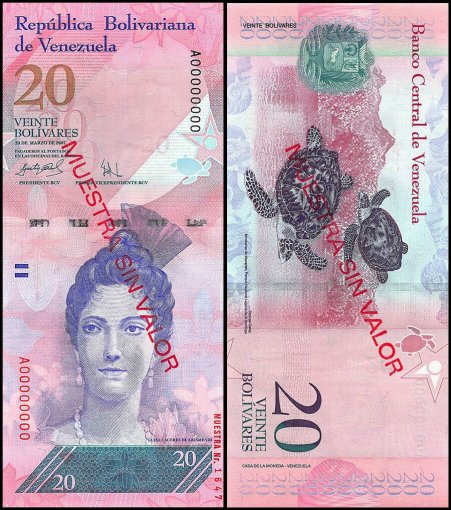 Venezuela 2 - 100 Bolívar Fuerte 6 Pieces - PCS Full Specimen Set, 2007-2017,UNC