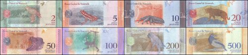 Venezuela 2 - 500 Bolivares Soberano 8 Pieces - PCS Full Set, 2018, P-NEW, UNC