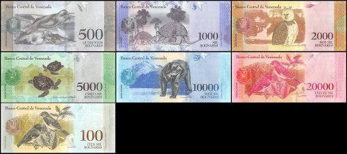 Venezuela 500-100,000 Bolivares X 7 Pieces - PCS, Set, 2016-2017, P-NEW, UNC