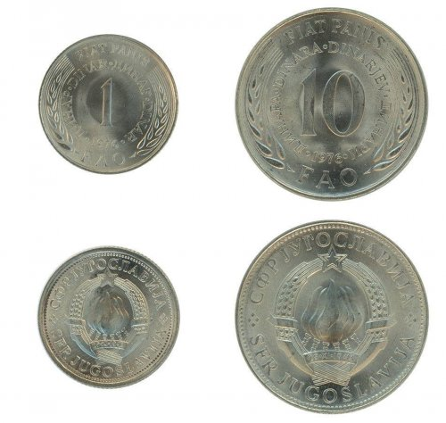 Yugoslavia 1 - 10 Dinars 2 Pieces - PCS Coin Set, 1976, KM # 61-63, Mint, W/ COA