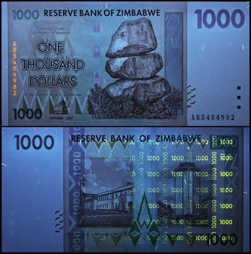 Zimbabwe 1,000 (1000) Dollars, 2007, P-71, UNC, 50 & 100 Trillion Series