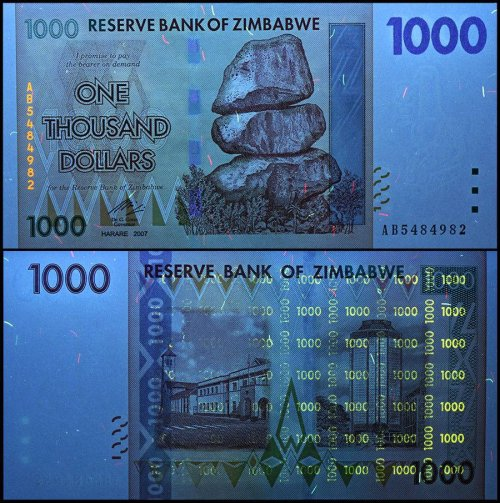 Zimbabwe 1,000 (1000) Dollars Banknote, 2007, P-71, USED, 100 Trillion Series