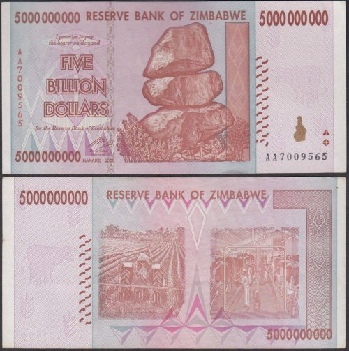 Zimbabwe 1 - 50 Billion Dollars Full Set, 2008, P-83-87,UNC,5 PCS,Trillion