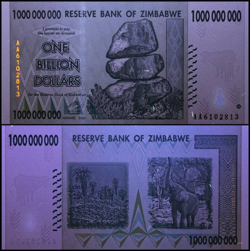 Zimbabwe 1 Billion Dollar Banknote, 2008, P-83, UNC, 50 & 100 Trillion Series