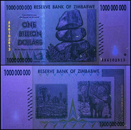 Zimbabwe 1 Billion Dollars Banknote, 2008, P-83, 50 & 100 Trillion Series, USED