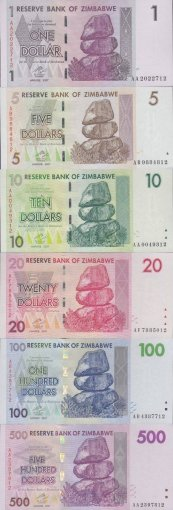 Zimbabwe 1 Cent-$100 Trillion Dollars, 66 PCS Full Complete Set , 2006-2009, UNC