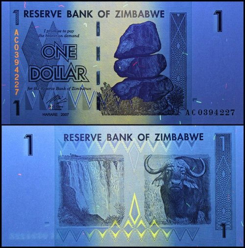 Zimbabwe 1 Dollar Banknote, 2007, P-65, USED, 50 & 100 Trillion Series
