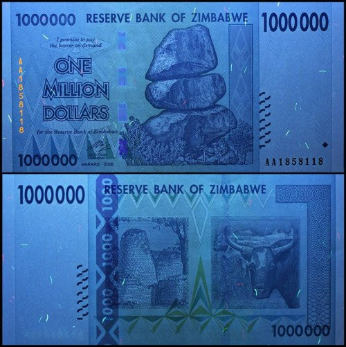 Zimbabwe 1 Million 1,000,000 Dollars, 2008, P-77, USED,100 Trillion Series