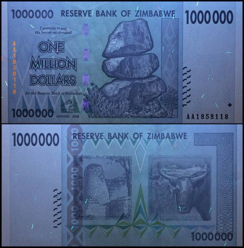 Zimbabwe 1 Million Dollar Banknote, 2008, P-77, UNC, 50 & 100 Trillion Series