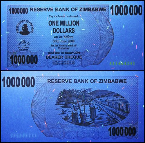 Zimbabwe 1 Million Dollars Bearer Cheque, 2008, P-53, USED