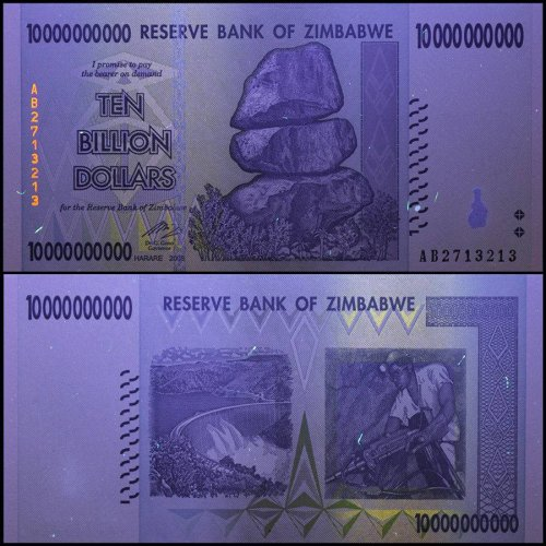 Zimbabwe 10 Billion Dollar Banknote, 2008, P-85, UNC, 50 & 100 Trillion Series