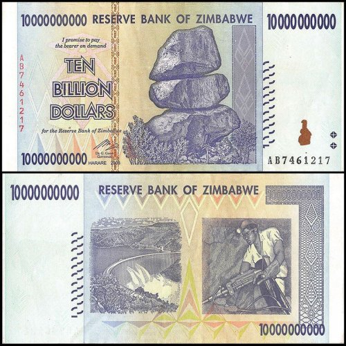 Zimbabwe 10 Billion Dollars Banknote, 2008, P-85, USED, Miscut Error, Rocks