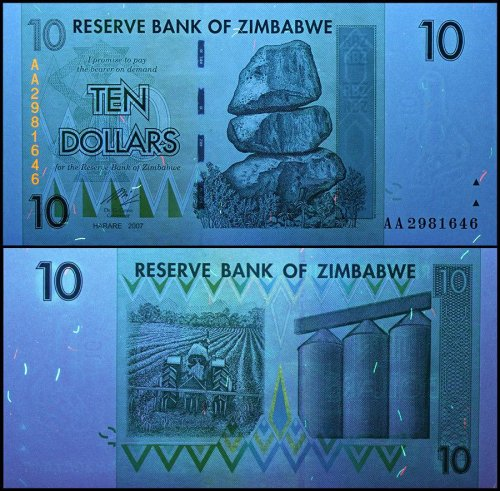 Zimbabwe 10 Dollars Banknote, 2007, P-67, USED, 50 & 100 Trillion Series