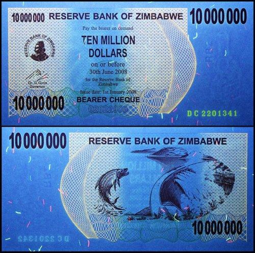 Zimbabwe 10 Million Dollars Banknote, 2008, P-55, USED