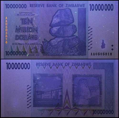 Zimbabwe 10 Million Dollars Banknote, 2008, P-78, UNC, 50 & 100 Trillion Series