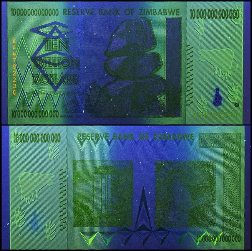 Zimbabwe 10 Trillion, AA/2008, P-88, USED,  50 & 100 Trillion Series
