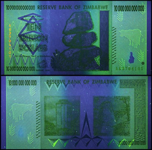 Zimbabwe 10 Trillion Dollars under UV light