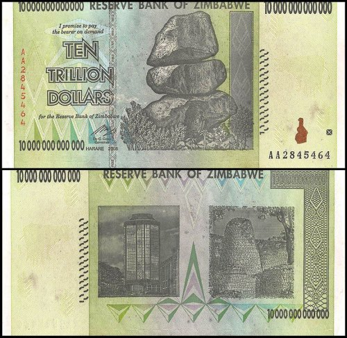 Zimbabwe 10 Trillion Dollars Banknote, 2008, P-88, USED, Miscut Error, Rocks