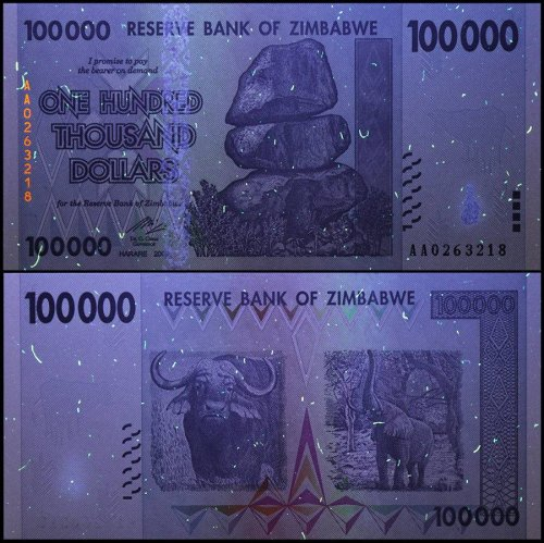 Zimbabwe 100,000 (100000) Dollars, 2008, P-75, UNC, 50 & 100 Trillion Series